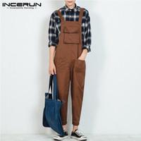 INCERUN Moda Men Macacão calças sólida 2020 Corredores Streetwear Chic soltas de algodão macacãozinho Correias Suspensórios Mens Carga Macacões