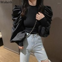 Woherb coréenne Black Fashion overs à col roulé demi-longues manches bouffantes Jumpers solide Patchwork Slim Pull Femme Automne New1
