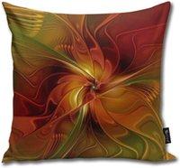 OCERY Özet Kırmızı Turuncu Kahverengi Yeşil Fraktal Sanat Çiçek atın Yastık Vücut Yastık Yastık Standart 18inch × 18inch = 45cm x 45cm