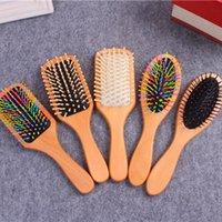 1PC Masaj Ahşap Tarak Saç Bakımı Anti-statik Paddle Fırça Başkanı Düz Kıvırcık Saç Vent Fırçası Bakımı Sağlıklı bambu tarak