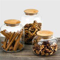 OUNONA 550ml tarro Caja de almacenamiento de grano de grano de caramelo con la tapa de bambú Grano de contenedores de vidrio transparente de cocina Tanque de almacenamiento