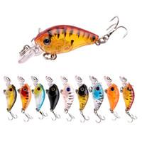 9pcs / 4,5 cm Lote / señuelo Crankbait 4G Bionic Set Kit de Pesca Bass Pike trucha cebo duro agudos Hook artificial Wobbler