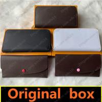 mode portefeuille gros hommes Pocke simple fermeture éclair femmes cuir portefeuille dame dames longue bourse avec carte boîte orange 60136 60017 LB81 LB82