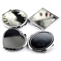 Plateada vanidad iluminado maquillaje espejo redondo cuadrado de la elipse del corazón compacto Espejos mano plegable espejo cosmético 2 C2 3BL