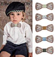 New Design Os miúdos meninos bonitos do arco de madeira Laço de borboleta Crianças Tipo Bow Floral Gravata Menina Meninos de madeira laços Corbatas para hombre