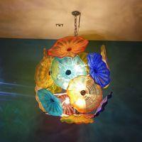 Catena di cristallo luci LED Lotus Flower moderna pendente della luce di vetro di Murano Lampadario decorazione del salone