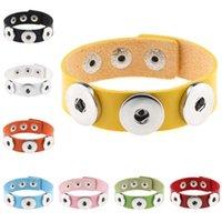 DHL epacket Schiff Art und Weise DIY Knopf Armband Männer und Frauen PU-Leder-Snap Armband DJFB88 Charm Bracelets Schmuck