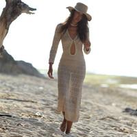 Fitshinling Bohemian gestrickten langen Kleid Strand aushöhlen sexy hot v Ansatz pareos 2020 slim Urlaub Maxi Kleider Frauenbadebekleidung