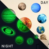 Noctilucence Mond PVC Neun Planeten-Wand-Aufkleber glühendes Sonnensystem Herausnehmbare leuchtendes wasserdichtes Tapete HauptDécor HA998