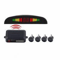 Sin hilos del coche del radar del estacionamiento del coche automático Parktronic Monitor LED con 4 sensores de aparcamiento inversa de copia de seguridad Detector Sistema Top VnvX #