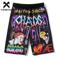 11 BYBB'S DARK Смешные хип-хоп мультфильм Письмо граффити Printed Короткие мужские Лето Harajuku Повседневный колен отдыха Beachshorts
