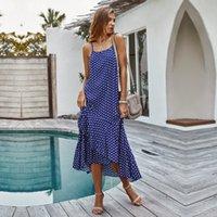 Summer Long punto de impresión de vestir de algodón playa de las mujeres de la raya vertical del cuello del tobillo de longitud vestido de espagueti de la correa de 2020 Nuevo