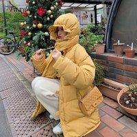 Женщины Даун Parkas Fitaylor 2021 90% утка Свободные Средние Среднего пальто Теплые Белоснежные Женщины Желтый Зима Сладка с капюшоном Сладкая Куртка