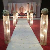 6pcs / lot Nuovo arrivo 100 cm alto 22 cm diametro diametro acrilico cristallo di cerimonia nuziale guida nuziale centrotavola decorazione del partito di evento