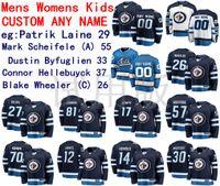 Winnipeg Jets Jersey Patrik Laine Jersey Mark Scheifele Dustin Byfuglien Connor Hellebuyck Mens Blue White Hockey Jerseys 사용자 정의 스티치