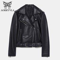 Женская кожаная искусственная из искусственного эрривла пальто женские черный мотоцикл PU куртка поворотный воротник короткие длины молнии дамы