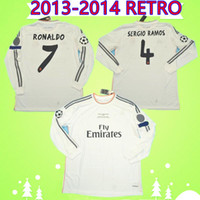 Langarm 2013 2014 REAL MADRID Fussball Jerseys Full 13 14 Ronaldo Retro Football Hemden Vintage Isco MAILLOT SERGIO RAMOS BENZEMA CAMISETA