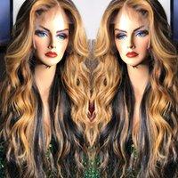白い女性のためのプリプラルの蜂蜜金髪のハイライトウィッグの色の人間の髪のウィッグ13x6レースの前後の部分的な除去さまざまな波