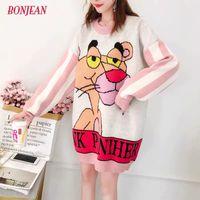 Pullover Kleid Frauen plus Größe gestrickte Karikatur Maxi-3XL Pullover Pink Panther Leopard Maxi-Harajuku Langarm-Jumper Y200720