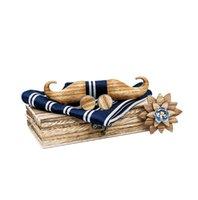 3D Beard manta bolso Conjunto Praça Handkerchief Cufflink Broche de Homens de casamento Gravatas Gift Box de madeira com arco de madeira Tie