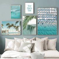 Oceano Landscape Canvas Art Pintura Oceano Tropical Prints Palmeira Pictures Imprimir Nordic Poster Scandinavian Home Decor
