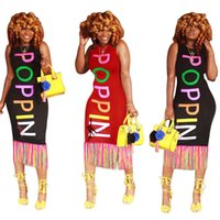 Женщины попсового Письмо летнего платья Дизайнер Танк Bodycon Платье Радуга Poppin Печать Цельной юбка рукава Лонг-Бич платье Одежда INS