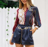 Женские блузки 2021 мода с длинным рукавом V-образным вырезом шифоновая блузка рубашка цепь печать платья повседневные вершины плюс размер Feminina1 женские рубашки