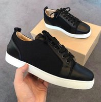 L'alta qualità della tela di canapa Junior Maglia nera Low Top Sneakers Appartamenti con arrotondata-toe pattini inferiori rossi Donne, Uomini Low Top Casual - Formatori EU35-47