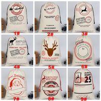 무료 배송 크리스마스 선물 가방 순수 코튼 캔버스 졸라 매는 끈 자루 가방 선물 사탕 (12) Stypes와 크리스마스 산타 디자인