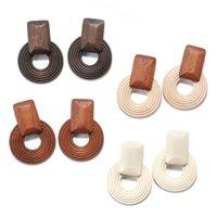 Coreano rotonda Handmade del pendente di goccia orecchini per le donne 2020 di legno africano gioielli etnici geometrica orecchini del partito regalo