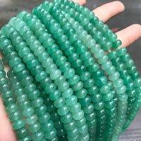 4x6mm 5x8mm Doğal Yeşil Aventurin Abacus Boncuk Gevşek Spacer Aventurin Jasper Taş Boncuk DIY Strand 15 Yapımı Takı için ''