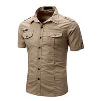 Camicia casual casual da uomo Camicia da lavoro tattico da uomo slim fit manica corta estate cotone moda bottone