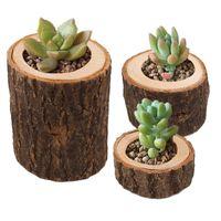 Güdük mumluk 3 adet / takım Set Rustik Ağacı Ahşap Şamdan Mini Saksı Açık Bahçe Succulents Flowerpot