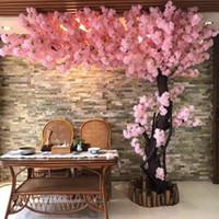 Beyaz Yapay Kiraz Çiçeği Şube Çiçek Duvar Düğün Centerpieces Yapay Dekoratif Çiçek Sakura ağacı sapını Asma