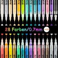 Boyama malzemeleri akrilik boya işaretleyici kalem 28 renkler / set sanat belirteçleri tuval üzerine yazdı metal seramik ahşap plastik Y200709