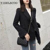 YIEELACOO Tweed ceket uzun elbise küçük tütsü 2020 sonbahar / kış kadın ceket Slim çift göğsü