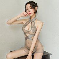 مثير زهرة الصينية تطريز ثوب خمر الإبزيم توسيع الصدر شيونغسام اللباس بيبي دول جاكار شبكة جانبية فساتين سبليت