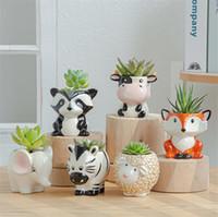 6PCE Set Dibujos animados Animales Flor Pote para Suculents Plantas Carnosas Flowerpot Cerámica Pequeña Mini Home Garden Office Decoración