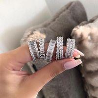 Taille 5-10 multi Hot Style classique Vendre Bijoux Argent 925 Beaux Sterling topazes CZ diamant populaire éternité femmes mariage Bague