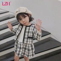 LZH 2020 moda outono Brasão + Longo leeved Traje 2pcs Outfits Terno crianças roupas Crianças Meninas Meninas Vestuário manta Define 2-6 anos