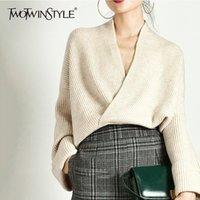 Manga TWOTWINSTYLE elegante que hace punto del suéter de las mujeres de largo V cuello jersey Tops ocasional femenina de moda los géneros de punto 2020 otoño Tide T200730