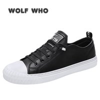 WOLF OMS 2020 New Shoes Moda respirável Flats Leather Sneakers Masculino Casual Sapatos ao ar livre Caminhada Footwears buty meskie X-060