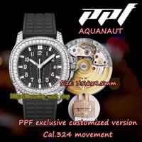Yüksek Son Sürüm PPF 5069G-001 CAL.324 S C Otomatik Kadın Saatler Siyah Kadran Tam Elmas Kakma Buzlu Dış Kılıf Bayan-Saatler Sonsuzluk 5068