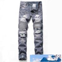 프랑스 스타일 패션 남성 청바지 고품질 블루 컬러 스키니 맞춤 접합은 진 하이 스트리트는 바이커 남성 MJ025를 파괴 찢어진