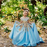 Jewel Neck Bola Vestidos Sequins Applique frisada Pageant vestido para meninas Satin Custom Made do aniversário dos miúdos Vestidos Princesa Flor Meninas Vestidos