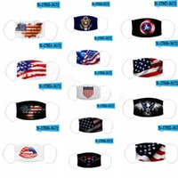 2020 American Flag Mask Adult USA 3D Printing Dustproof Breathable Washable mouth cover face mask with filter pocket Kid adult Mask CYF4270a
