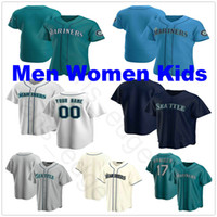 2020 Novos Homens Personalizados Mulheres Crianças Juventude # 17 Mitch Haniger 51 Ichiro Suzuki 34 Felix Hernandez 15 Kyle Seagger Stitched Baseball Camisas