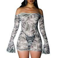 Joskaa dinheiro impressão flare manga sexy fora do ombro mini vestido para mulheres malha ver através de bodycon club dresses