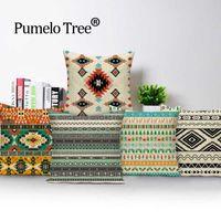 Almofada / Almofada decorativa Geometric Astec Almofada Bohemian Home Decor Camping Moda Tampa Corrugated Imprimir Roupa de Linho PO