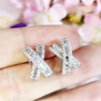 Ins più venduti gioielli di lusso 925 orecchini da sposa Orecchini di clip della principessa Cut Topazio bianco diamante della CZ delle pietre preziose argento sterlina delle donne della Croce